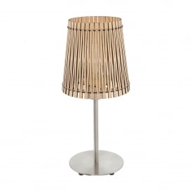 Sendero Single Light Table Lamp In Satin Nickel Finish With Maple Wood Shade