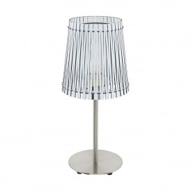 Sendero Single Light Table Lamp In Satin Nickel Finish With White Wood Shade