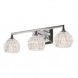 Serena 3 LED Above Mirror Bathroom Wall Fitting in Polished Chrome Finish with Glass Shades
