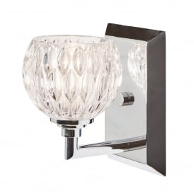 Serena Single Light Bathroom Wall Fitting in Polished Chrome Finish Complete with Glass Shade