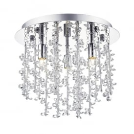 Sestina 3 Light Semi Flush Ceiling Fitting in Polished Chrome Finish with Crystal