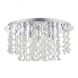 Sestina 5 Light Semi Flush Ceiling Fitting in Polished Chrome Finish with Crystal