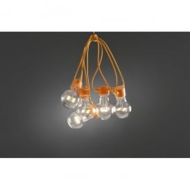 Set of 10 Static LED Clear Festoon Lights with Orange Cable
