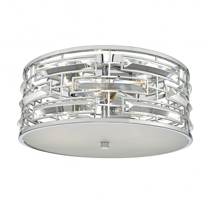 Dar Lighting Seville 3 Light Flush Ceiling Fitting in Polished Chrome Finish with Crystals