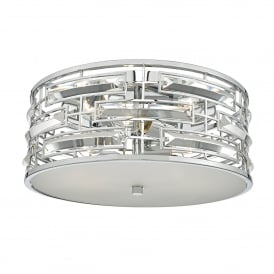 Seville 3 Light Flush Ceiling Fitting in Polished Chrome Finish with Crystals