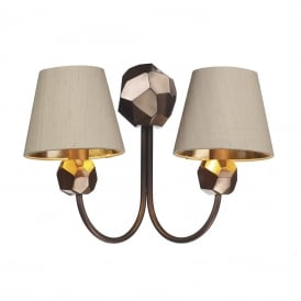 Shard 2 Light Wall Fitting In Copper Finish With Taupe Silk Shade And Broze Metallic Lining