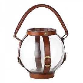 Sheldon Candle Lantern With Clear Glass And Leather Detail