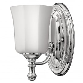Shelly Single LED Bathroom Wall Fitting in Polished Chrome Finish Complete with Glass Shade