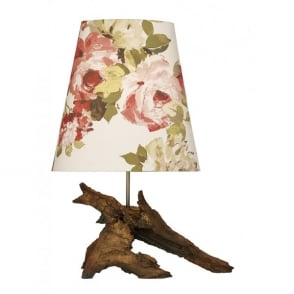 Sherwood Single Light Table Lamp with Wood Effect Base and Clarke And Clarke Romana Fabric Shade In Rosso