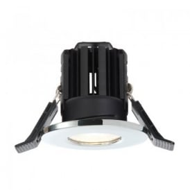 Shield LED 800 Single Light Dimmable Fire Rated Bathroom Recessed Ceiling Spotlight Fitting In Polished Chrome Finish