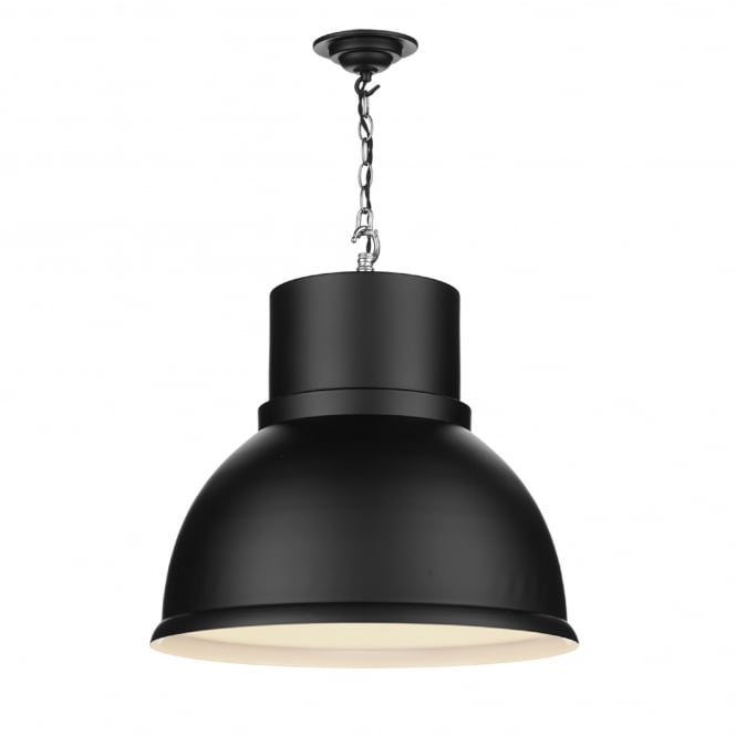 David Hunt Lighting Shoreditch Single Light Large Ceiling Pendant in Black Finish