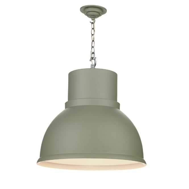 David Hunt Lighting Shoreditch Single Light Large Ceiling Pendant in Powder Grey Finish