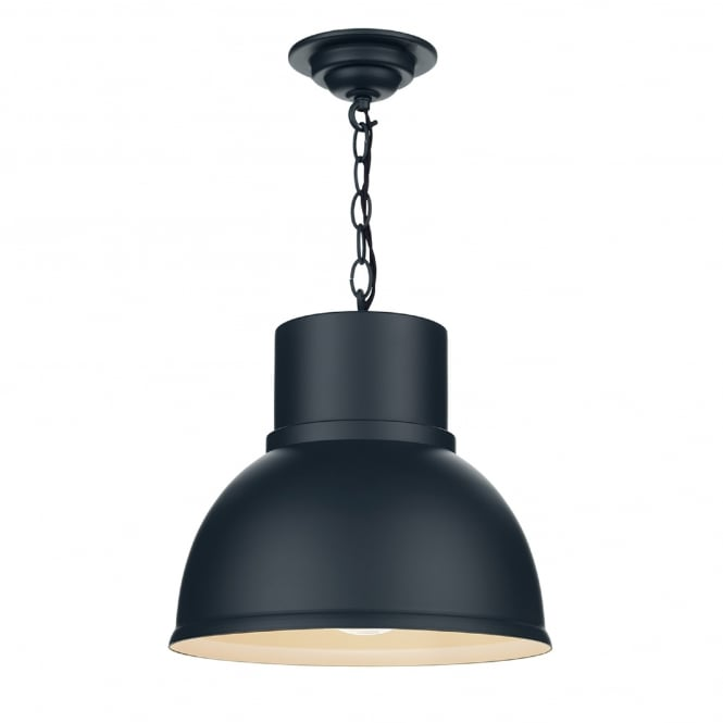 David Hunt Lighting Shoreditch Single Light Small Ceiling Pendant in Smoke Blue Finish