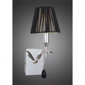Siena Single Light Switched Wall Fitting in Polished Chrome Finish With Black Shade