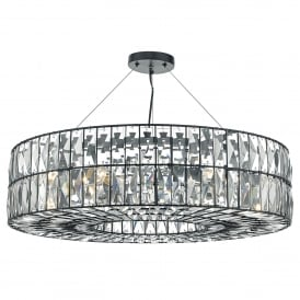 Sienna 6 Light Ceiling Pendant in Black Finish with Faceted Crystals