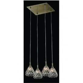 Simone 4 Light Ceiling Pendant In Antique Brass And Crystal Finish