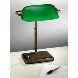 Single Light Bankers Lamp In Antique Bronze Finish With Green Glass Shade