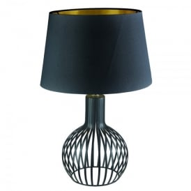 Single Light Black Cage Design Table Lamp With Black Shade & Gold Inner