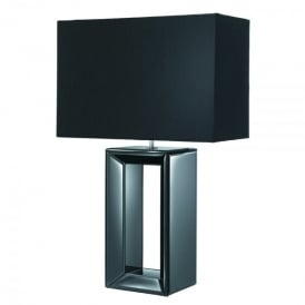 Single Light Black Mirror Reflection Table Lamp With Black Faux Silk Shade