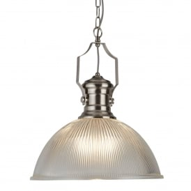 Single Light Ceiling Pendant In Satin Silver Finish With Ribbed Glass Shade
