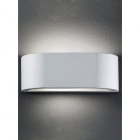 Single Light Ceramic Wall Uplighter With Glass Light Spill At The Base
