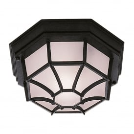 Single Light Flush Ceiling Fitting Die Cast Aluminium in Black Finish with Frosted Glass