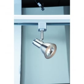 Single Light Funnel Head Track Spotlight Fitting In Satin Silver Finish With Chrome Trim