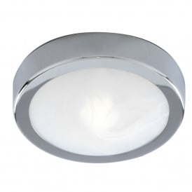 Single Light LED Bathroom Wall or Ceiling Fitting In Polished Chrome Finish With White Marble Glass Shade