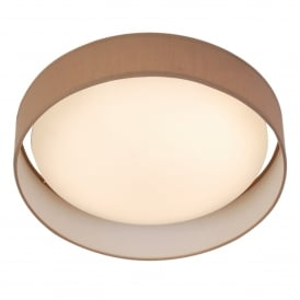Single Light LED Flush Ceiling Fitting With Brown Fabric Shade And Acrylic Diffuser