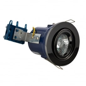 Single Light Recessed Adjustable Fire Rated Downlight In Black Chrome Finish