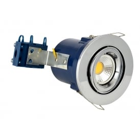Single Light Recessed Adjustable Fire Rated Downlight In Polished Chrome Finish