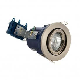 Single Light Recessed Adjustable Fire Rated Downlight In Satin Chrome Finish