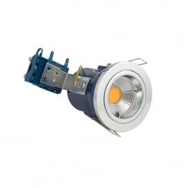 Single Light Recessed Fixed Fire Rated Downlight In Polished Chrome Finish