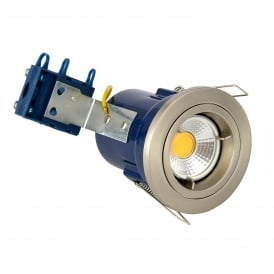 Single Light Recessed Fixed Fire Rated Downlight In Satin Chrome Finish