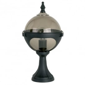 Single Light Small Outdoor Globe Post Light In Black Finish With Smoked Glass Shade