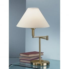 Single Light Swing Arm Table Lamp in Polished Brass Finish