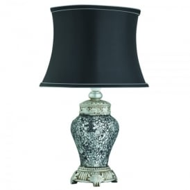 Single Light Table Lamp In Antique Pewter And Black Finish With Black Fabric Shade