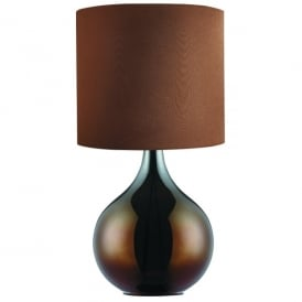 Single Light Table Lamp With Brown Glass Base And Fabric Shade