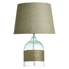 Single Light Table Lamp With Glass Base And Hemp Wrap Detail