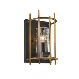 Single Light Wall Fitting In Matt Gold And Antique Ironwork Finish