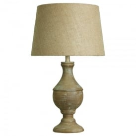 Single Light Washed Wood Oak Table Lamp With Round Urn Base And Brown Fabric Shade