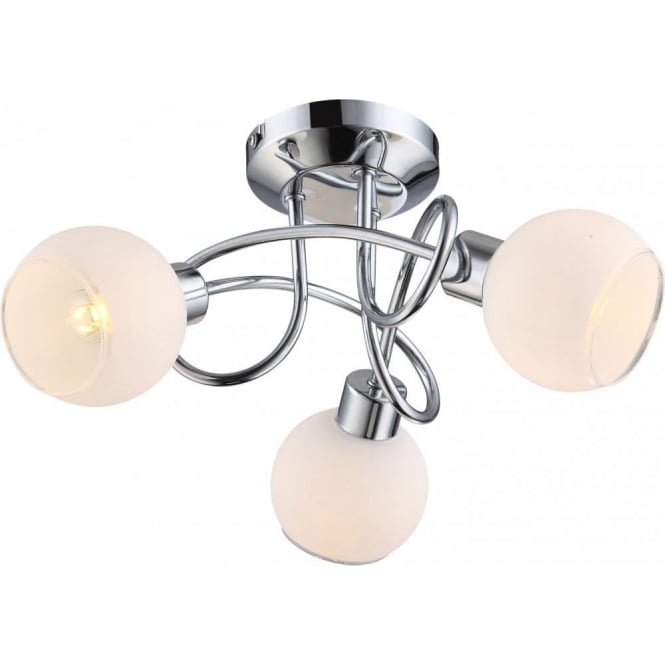 globo lighting siony led 3 light polished chrome semi flush ceiling fitting with opal glass. Black Bedroom Furniture Sets. Home Design Ideas