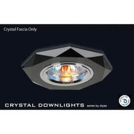 Slim Recessed Black Crystal Hexagonal Downlight Fascia Only