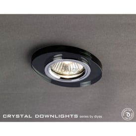 Slim Recessed Chamfered Black Crystal Oval Downlight Fascia Only