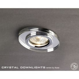 Slim Recessed Chamfered Clear Crystal Oval Downlight Fascia Only