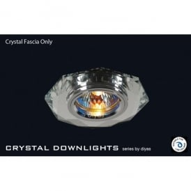 Slim Recessed Clear Crystal Hexagonal Downlight Fascia Only