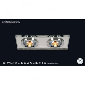 Slim Recessed Clear Crystal Rectangle Downlight Fascia Only
