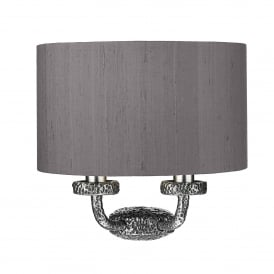 Sloane 2 Light Wall Lamp in Pewter Finish with Charcoal Silk Shade