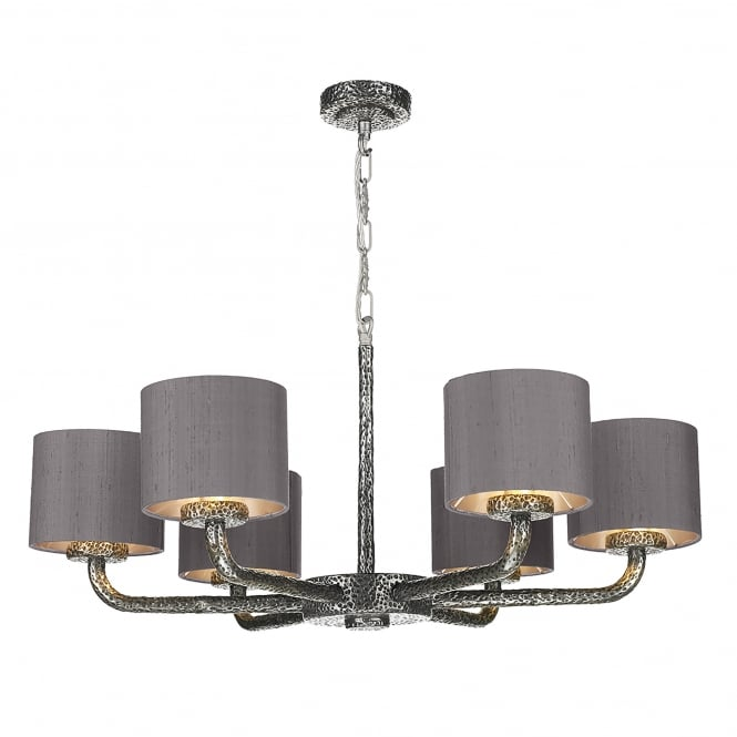 David Hunt Lighting Sloane 6 Light Ceiling Pendant in Pewter Finish with Charcoal Silk Shades
