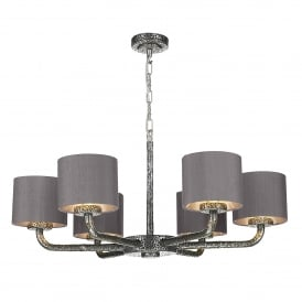 Sloane 6 Light Ceiling Pendant in Pewter Finish with Charcoal Silk Shades